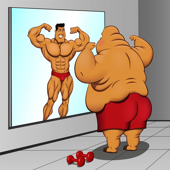 שמן מסתכל במראה